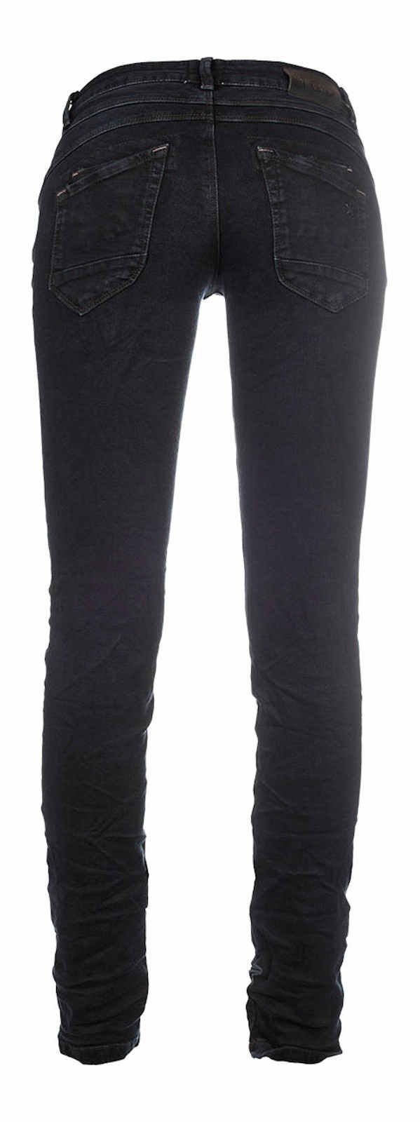 M.O.D Damen Jeans Ulla Slim AU16-2087 Hüft Hose Low Waist Slim Leg MOD Schwarz