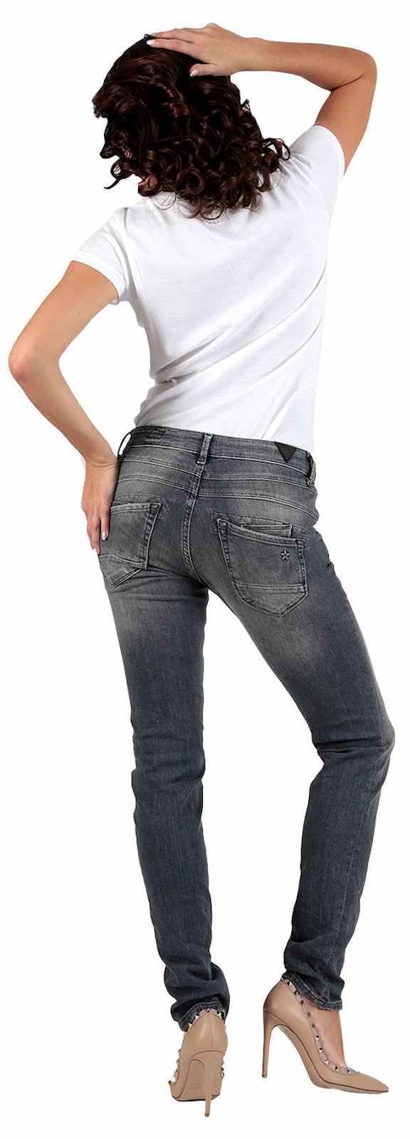 M.O.D Damen Jeans Ulla Slim NOS-2020 Hüft Hose Low Waist Slim Leg MOD Grau