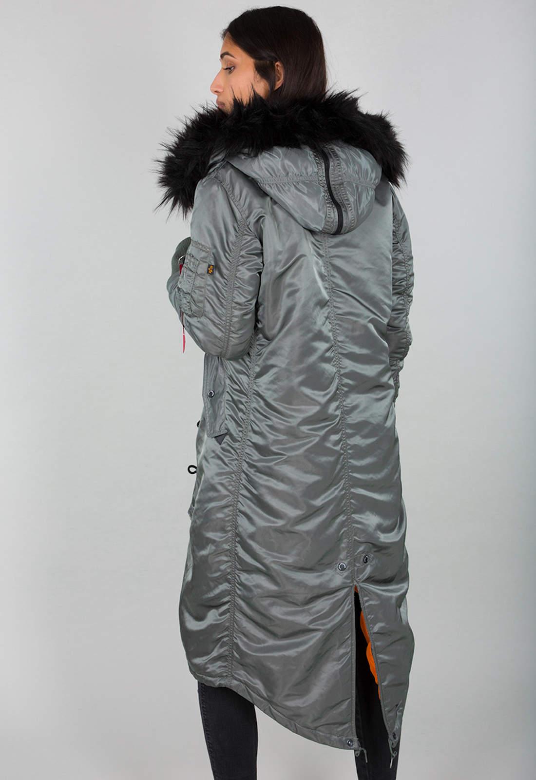 Details about Alpha Industries Damen Mantel B3FL Coat Winterjacke Parka Long Fishtail