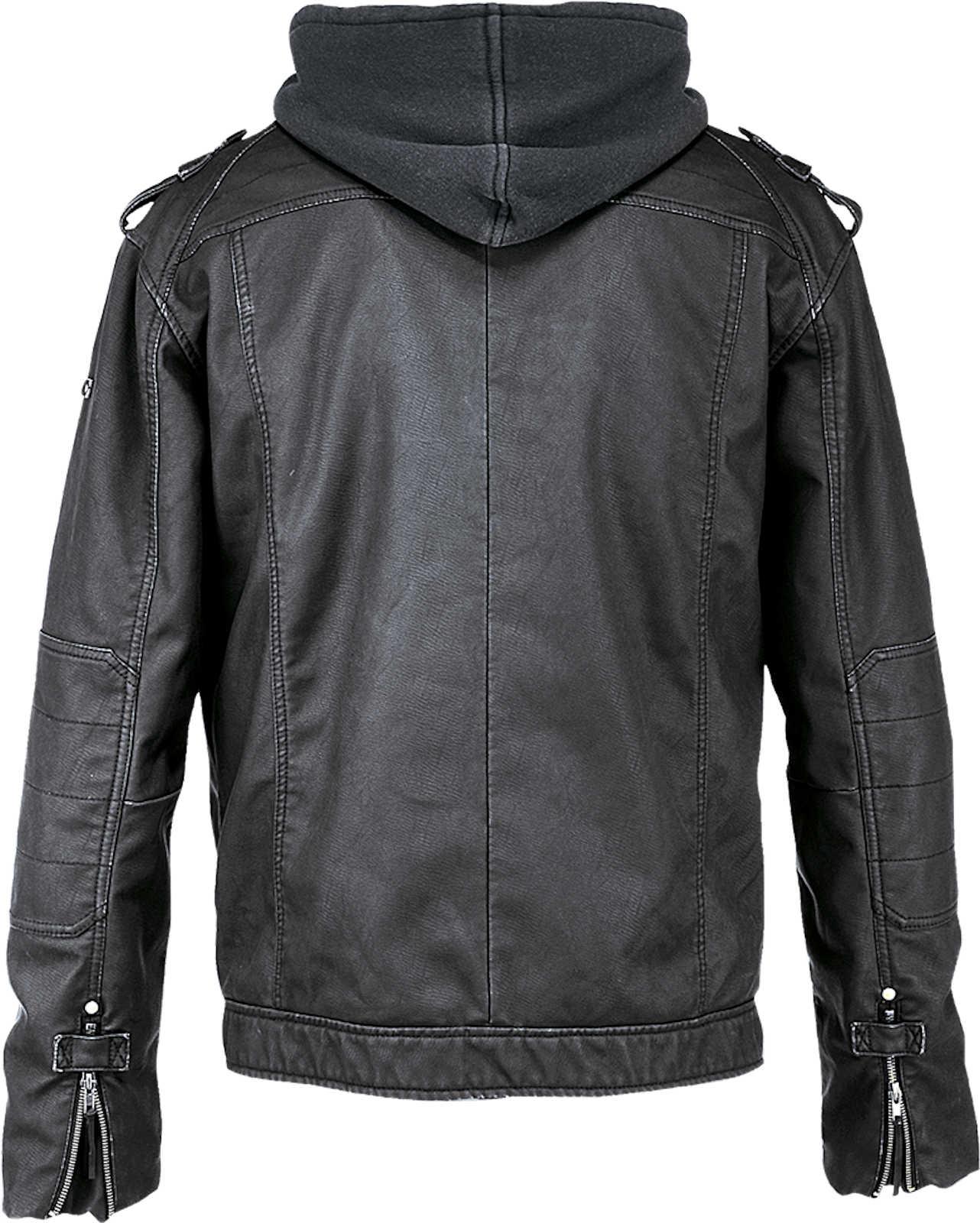 Brandit Herren schwarz Rock Jacket 3119 Kunstlederjacke Kapuze Biker Motorradjacke Motorradjacke Motorradjacke 4b0d40