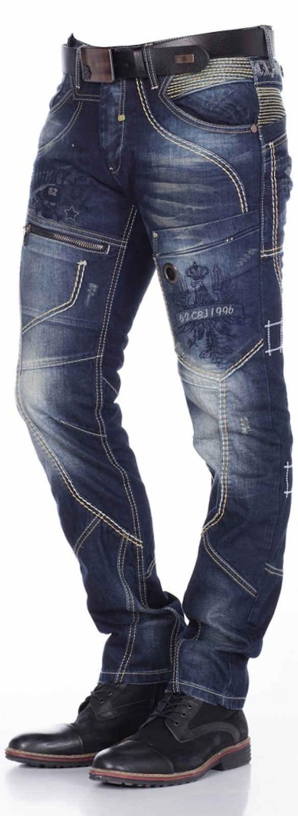 Cipo-amp-Baxx-Men-039-s-Jeans-c-1114-New-Trousers-Straight-Cut-Regular-Straight-Leg-Denim thumbnail 3