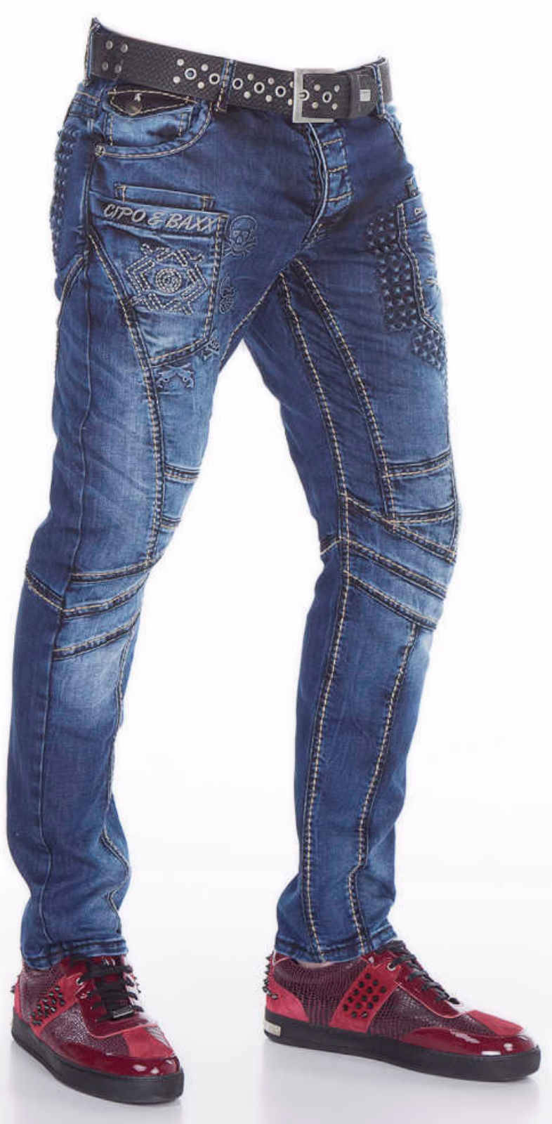 CIPO & BAXX Herren Herren Herren Jeans CD418 Hose Straight Cut Regular Gerade Denim Stretch   Authentische Garantie    Innovation  1abc3d