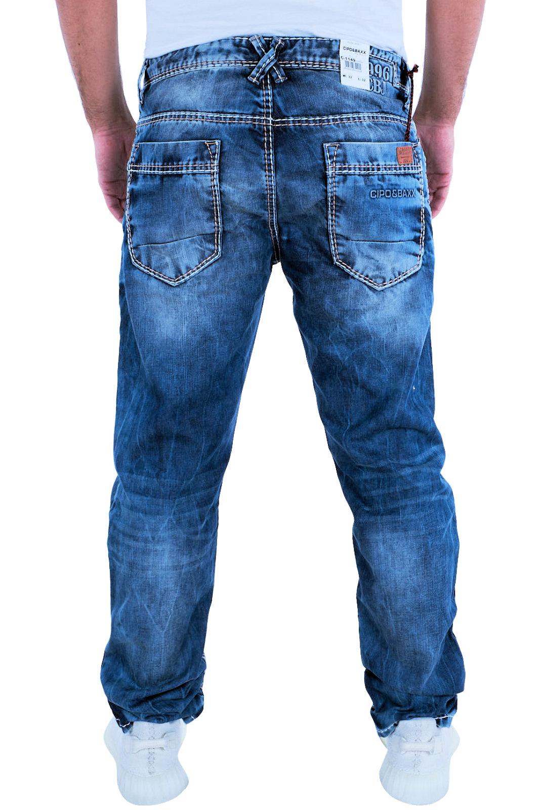 Cipo-amp-Baxx-Mens-Jeans-Clubwear-Denim-Trousers-c-1149-Straight-Thick-Seam-New-C-11 thumbnail 3