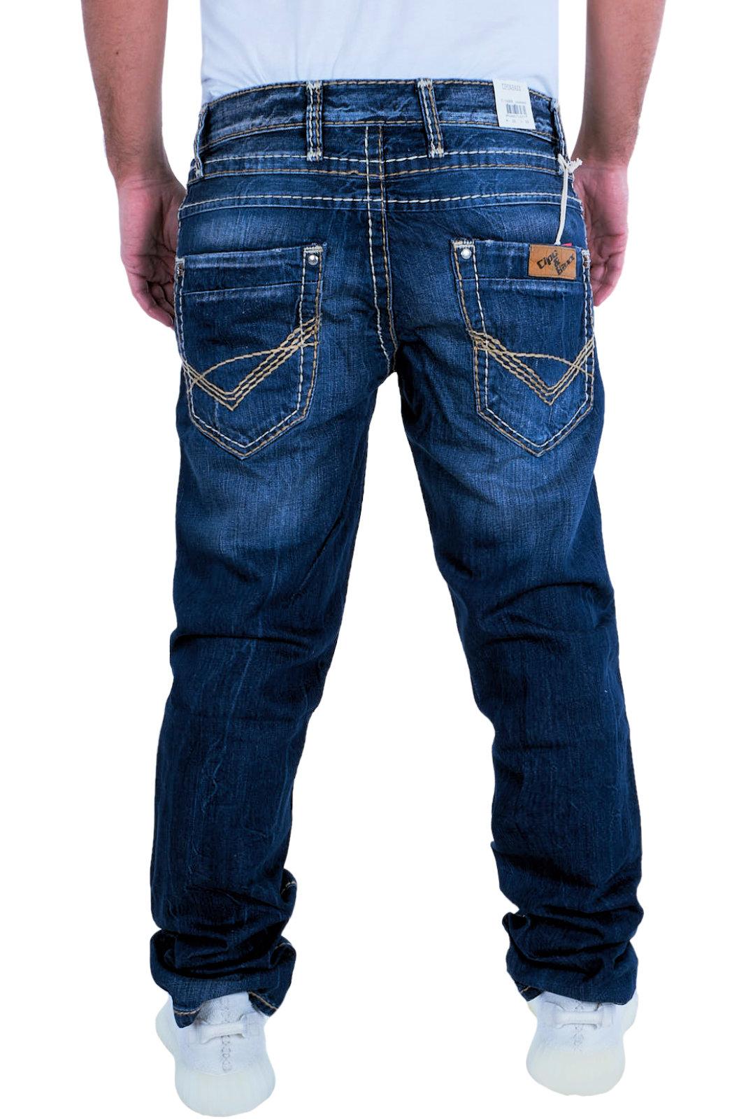 CIPO & BAXX Herren Jeans Clubwear Denim Hose C-0688 Straight Straight Straight Dicke Naht Designer 95e8cb