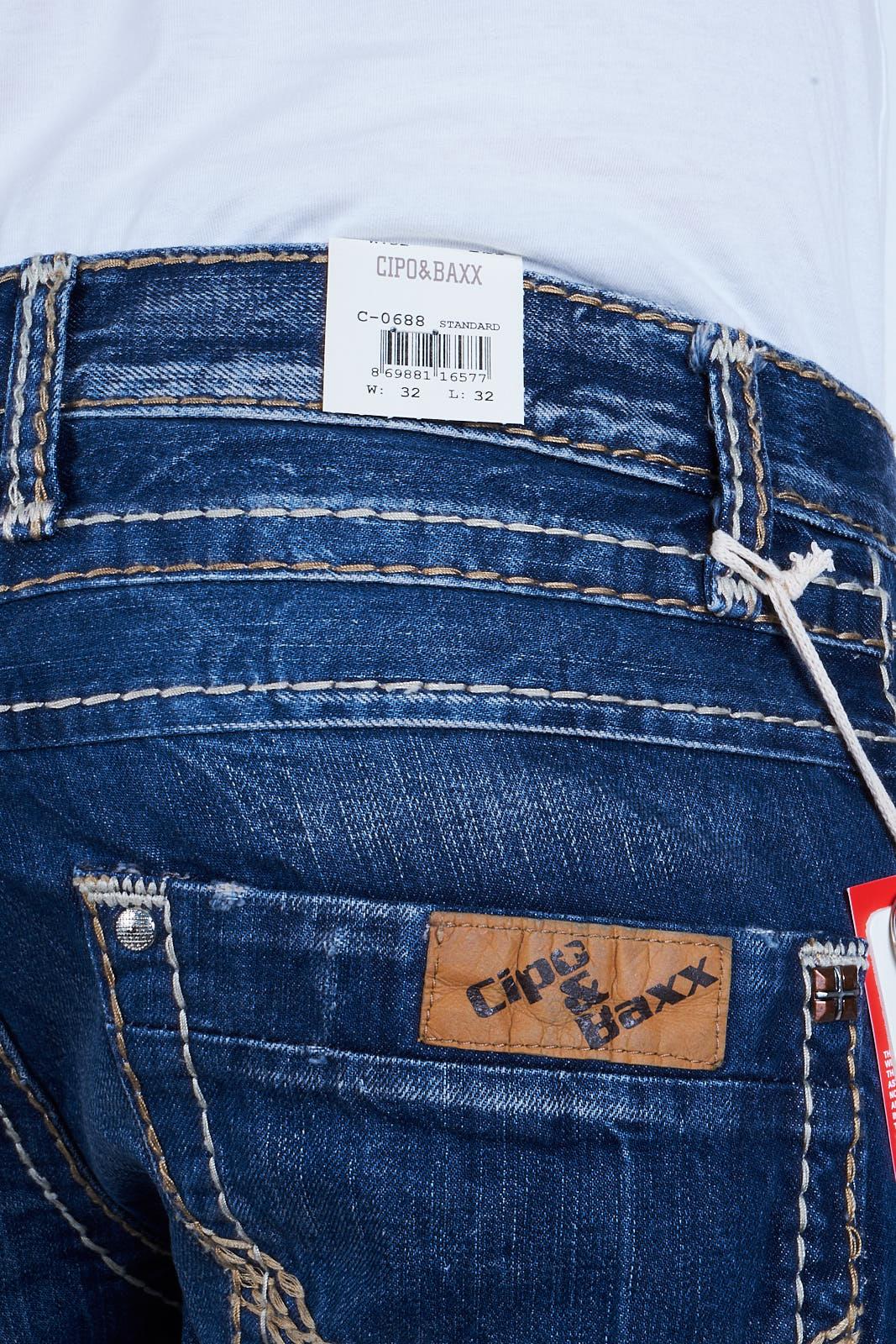 Jeans Hose Dicke Denim Straight Clubwear Designer Naht C Baxx 0688 Cipo amp; Herren qwx4tYF