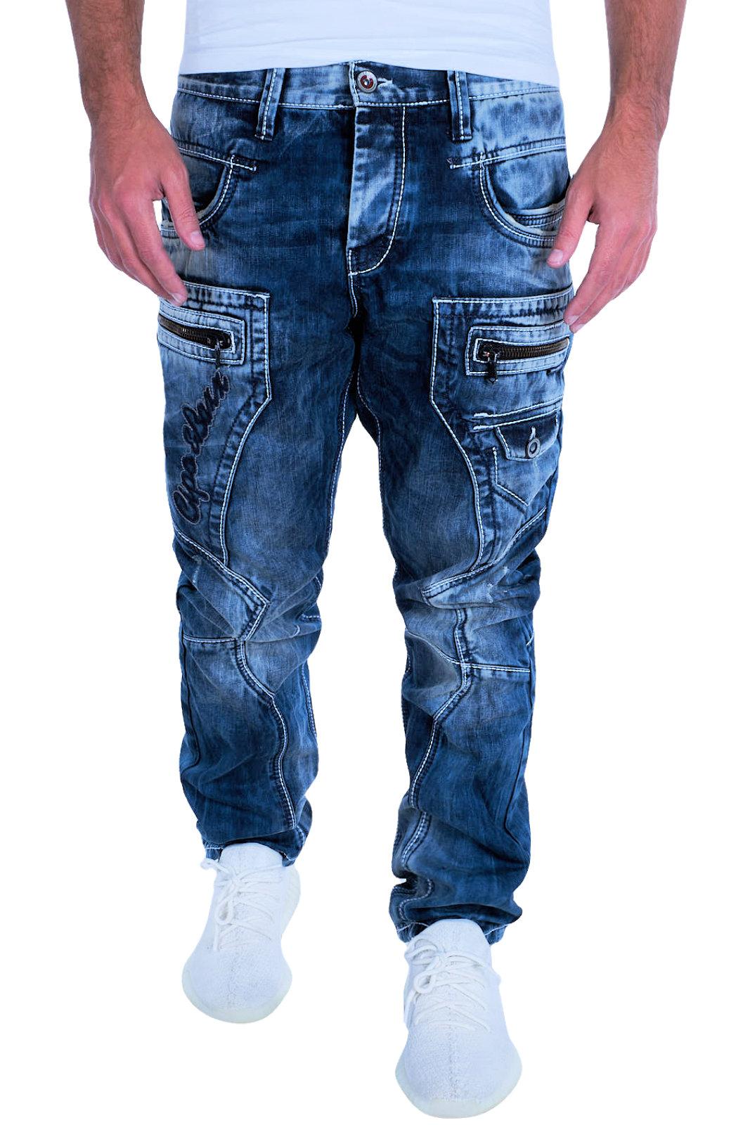 Cipo /& Baxx Uomo Jeans Clubwear Denim Pantaloni c-1149 Straight Spessore Cuciture Nuovo C 11