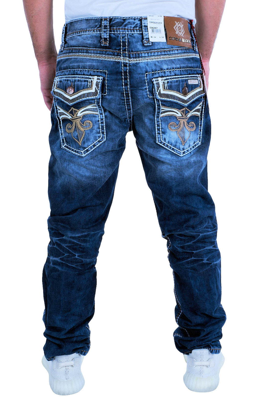 Cipo-amp-Baxx-Mens-Jeans-Clubwear-Denim-Trousers-cd287-Straight-Vintage-Thick-Seams thumbnail 3