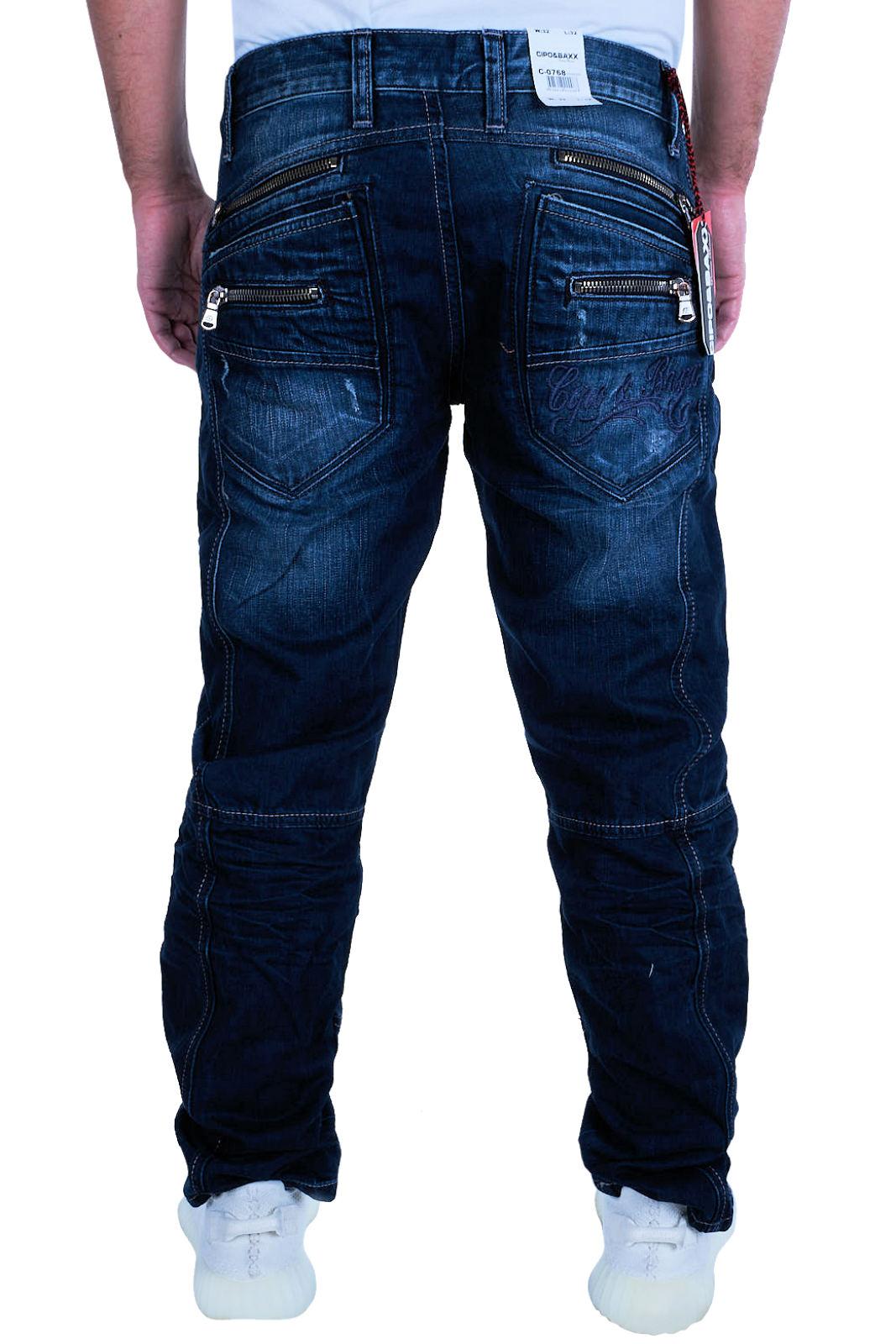 Cipo-amp-Baxx-Mens-Jeans-Clubwear-Denim-Trousers-c-0768-Straight-Designer-New-C-0768 thumbnail 3