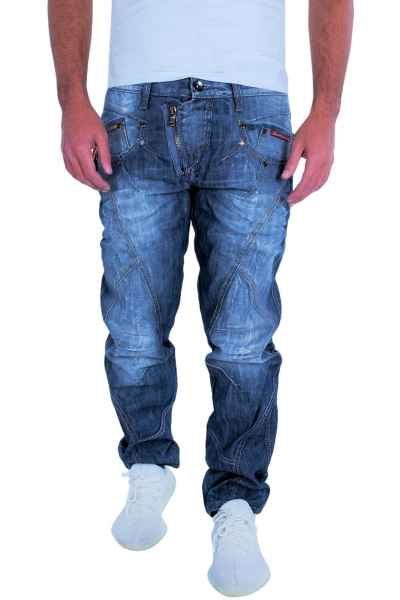 CIPO & BAXX Herren Jeans Clubwear Denim Hose C-0751 Stone Washed Blau Biker C 0751