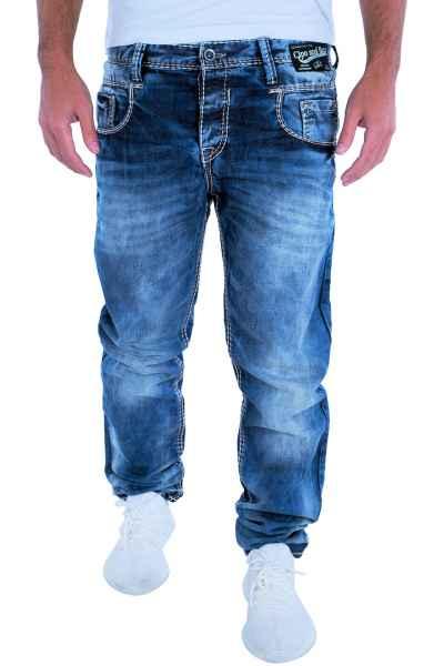 CIPO & BAXX Herren Jeans Clubwear Denim Hose C-1149 Straight Dicke Naht NEU C 1149