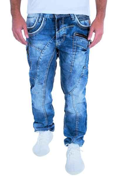 CIPO & BAXX Herren Jeans Clubwear Denim Hose C-1150 Straight Dicke Naht FASHION C 1150