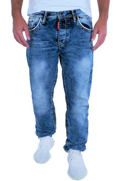 CIPO & BAXX Herren Jeans Clubwear Denim Hose CD148 Straight Dicke Naht FASHION CD148